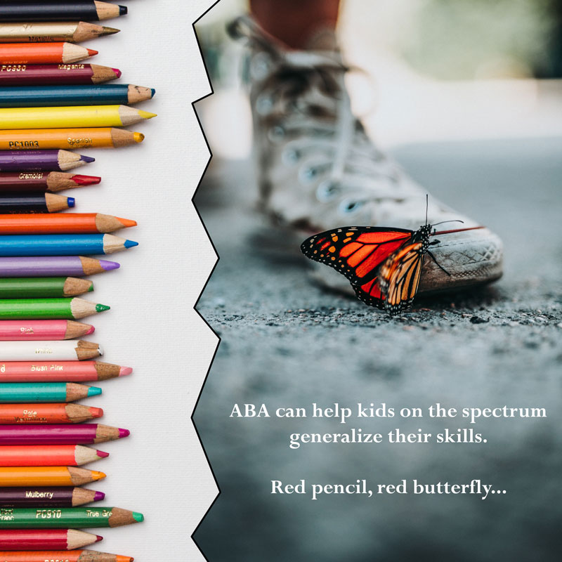 ABA can help kids on the spectrum generalize their knowledge. Red pencil, red butterfly...  Pencil image by kelli-tungay-324329-unsplash; butterfly image by nathan-dumlao-264909-unsplash